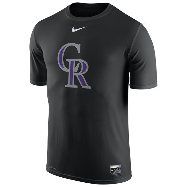 MLB Men Colorado Rockies Nike Authentic Collection Legend Logo 1.5 Performance TShirt Black