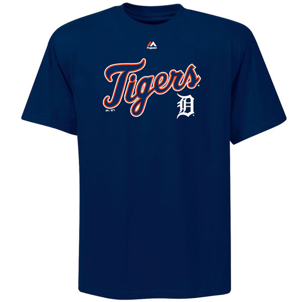 MLB Men Detroit Tigers Majestic Big Tall Warning Track TShirt Navy