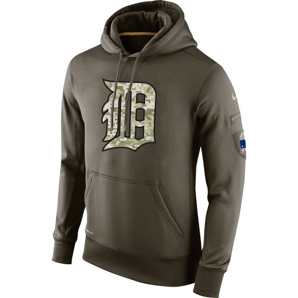 MLB Men Detroit Tigers Nike Olive Salute To Service KO Performance Hoodie Green