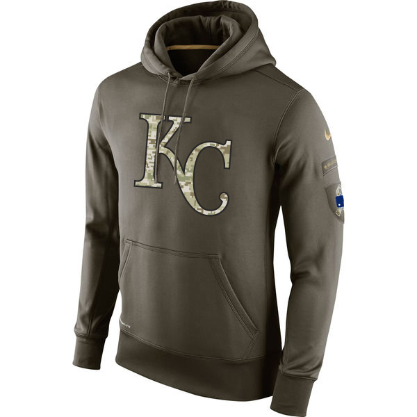 MLB Men Kansas City Royals Nike Olive Salute To Service KO Performance Hoodie Green