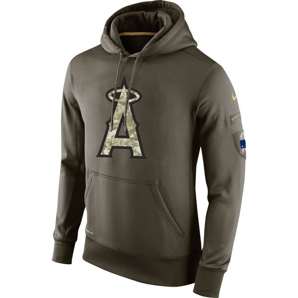 MLB Men Los Angeles Angels 1 Nike Olive Salute To Service KO Performance Hoodie Green