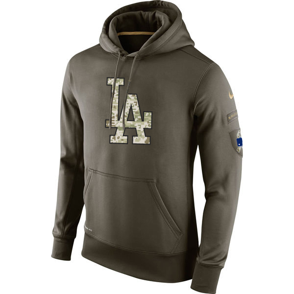 MLB Men Los Angeles Dodgers Nike Olive Salute To Service KO Performance Hoodie Green