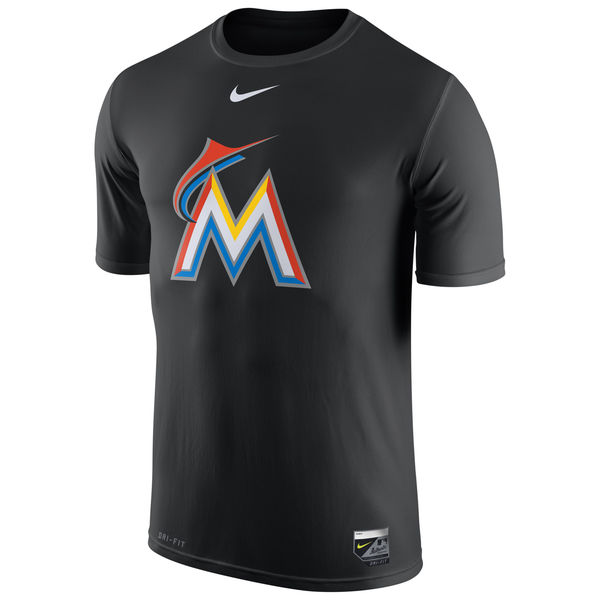 MLB Men Miami Marlins Nike Authentic Collection Legend Logo 1.5 Performance TShirt Black