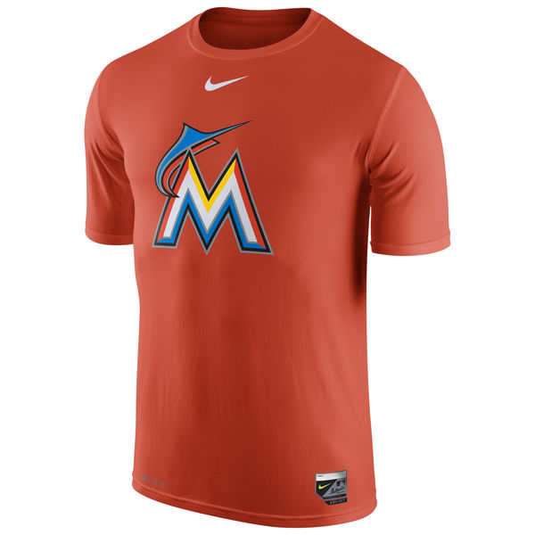 MLB Men Miami Marlins Nike Authentic Collection Legend Logo 1.5 Performance TShirt Orange