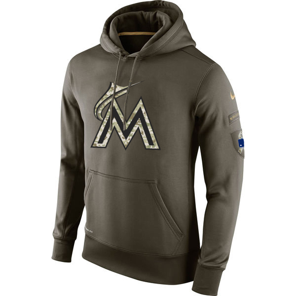 MLB Men Miami Marlins Nike Olive Salute To Service KO Performance Hoodie Green
