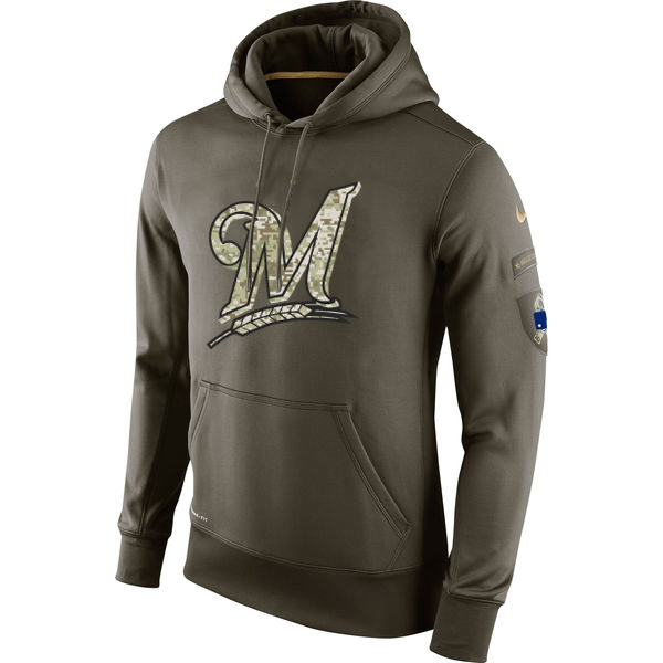 MLB Men Milwaukee Brewers Nike Olive Salute To Service KO Performance Hoodie Green