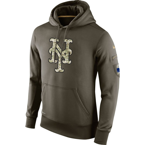 MLB Men New York Mets Nike Olive Salute To Service KO Performance Hoodie Green