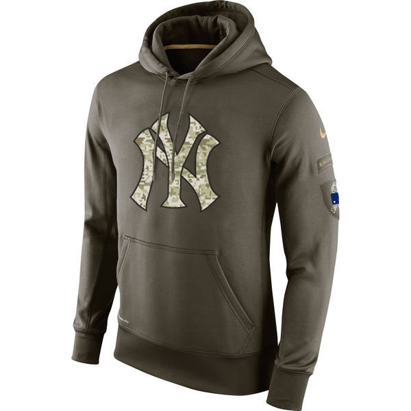 MLB Men New York Yankees Nike Olive Salute To Service KO Performance Hoodie Green
