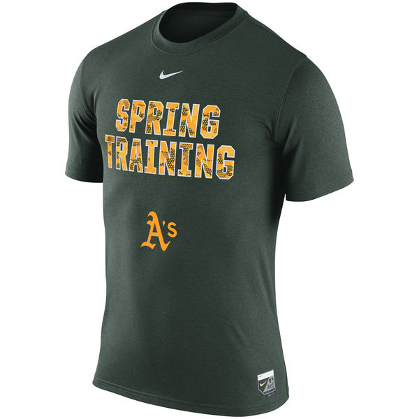MLB Men Oakland Athletics Nike 2016 Authentic Collection Legend Team Issue Spring Training Performance TShirt Green