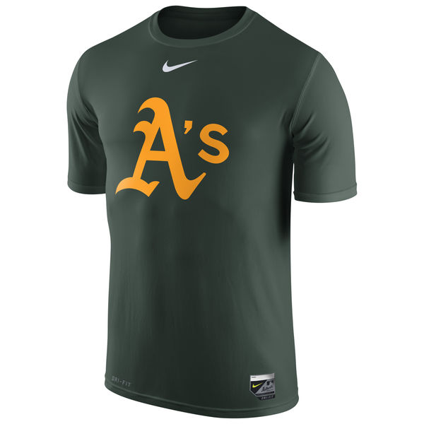 MLB Men Oakland Athletics Nike Authentic Collection Legend Logo 1.5 Performance TShirt Green