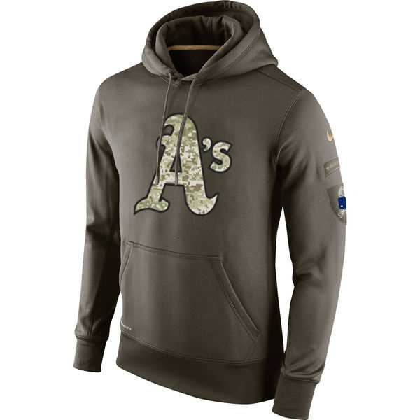 MLB Men Oakland Athletics Nike Olive Salute To Service KO Performance Hoodie Green