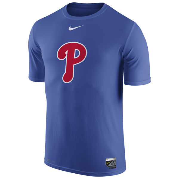 MLB Men Philadelphia Phillies Nike Authentic Collection Legend Logo 1.5 Performance TShirt Royal