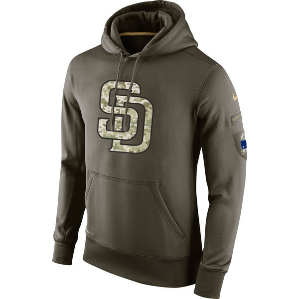 MLB Men San Diego Padres Nike Olive Salute To Service KO Performance Hoodie Green