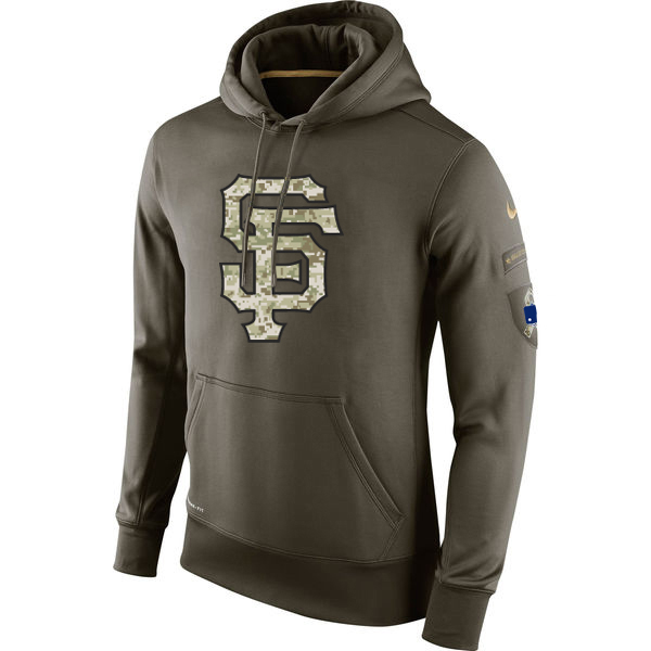 MLB Men San Francisco Giants Nike Olive Salute To Service KO Performance Hoodie Green