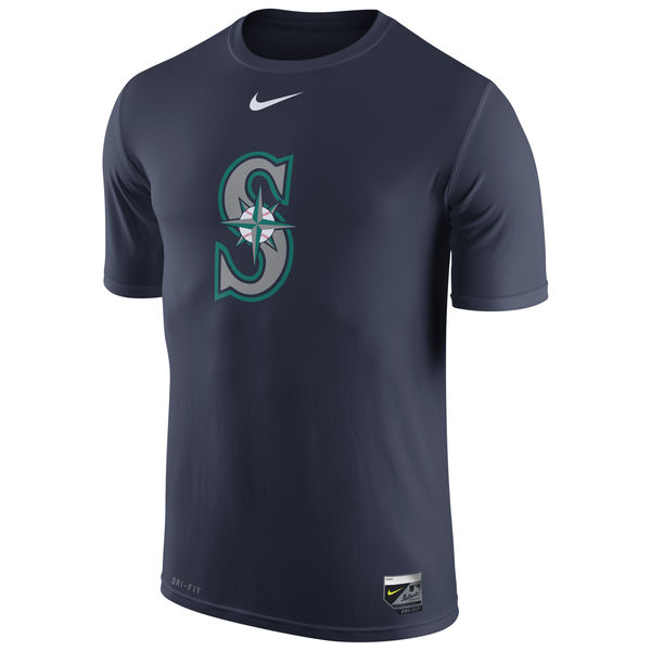 MLB Men Seattle Mariners Nike Authentic Collection Legend Logo 1.5 Performance TShirt Navy