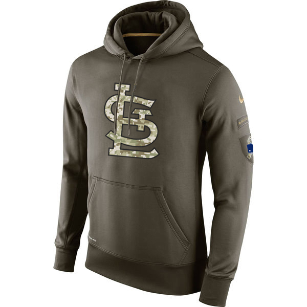 MLB Men St.Louis Cardinals Nike Olive Salute To Service KO Performance Hoodie Green