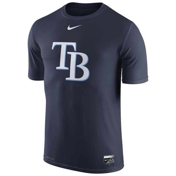 MLB Men Tampa Bay Rays Nike Authentic Collection Legend Logo 1.5 Performance TShirt Navy