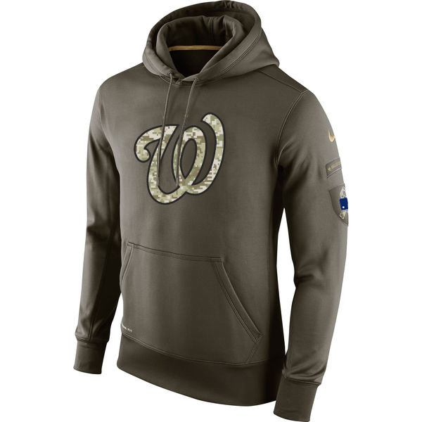 MLB Men Washington Nationals Nike Olive Salute To Service KO Performance Hoodie Green