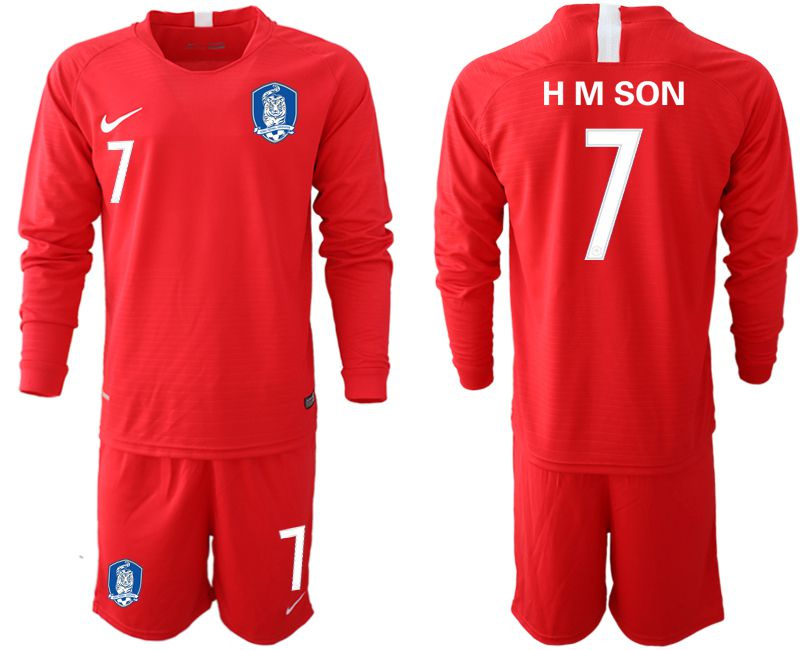 Men 2018-2019 National Team Korea red long sleeve 7 soccer jerseys