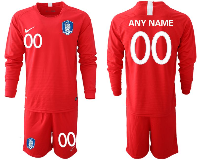 Men 2018-2019 National Team Korea red long sleeve customized soccer jerseys