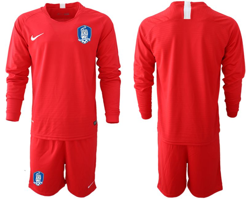 Men 2018-2019 National Team Korea red long sleeve soccer jerseys