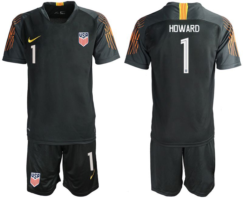 Men 2018-2019 National Team USA black goalkeeper 1 soccer jerseys