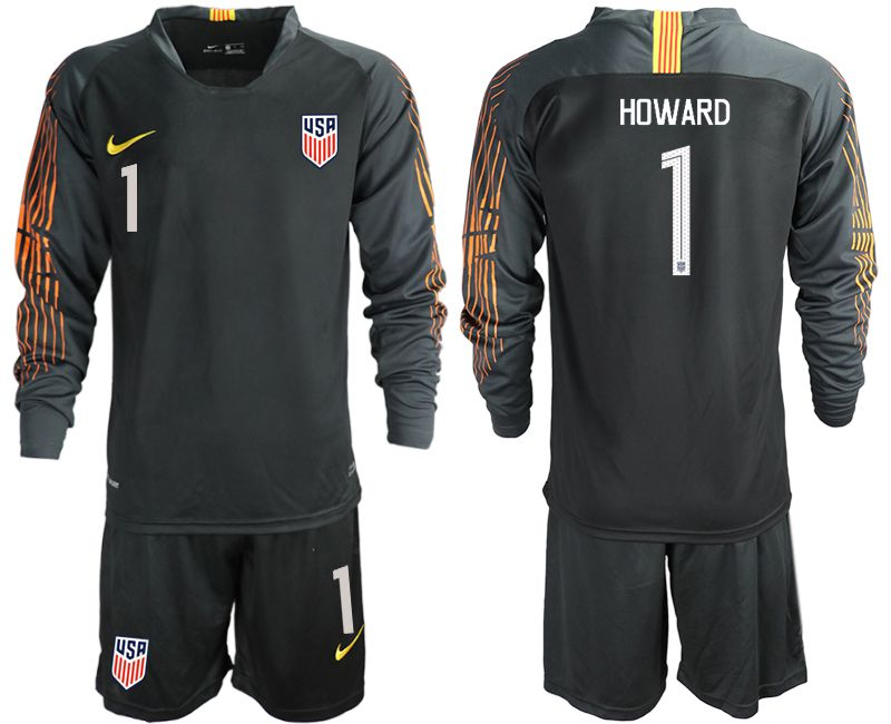 Men 2018-2019 National Team USA black long sleeve goalkeeper 1 soccer jerseys