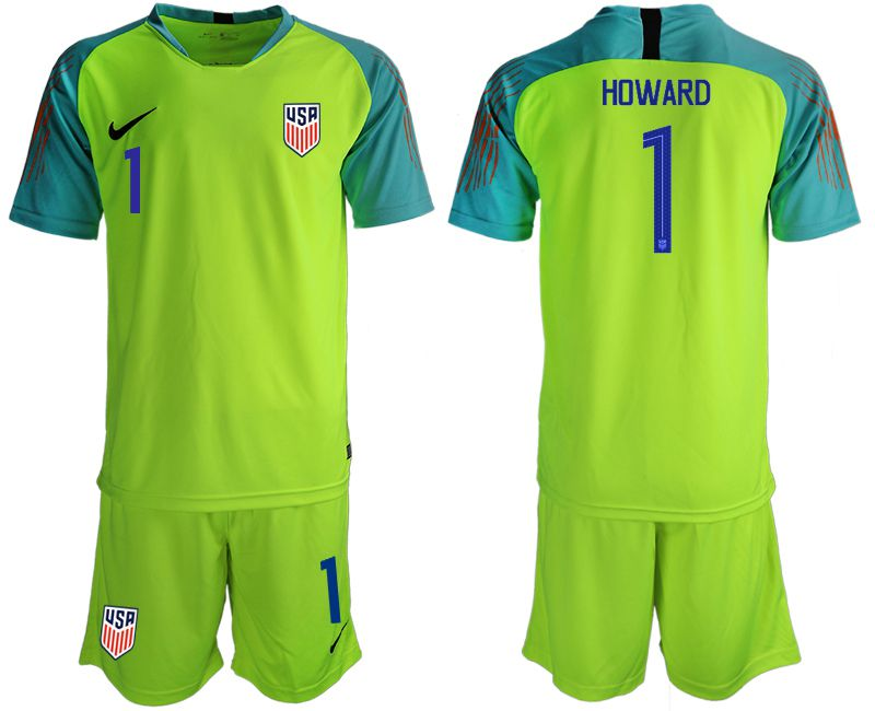 Men 2018-2019 National Team USA fluorescent green goalkeeper 1 soccer jerseys