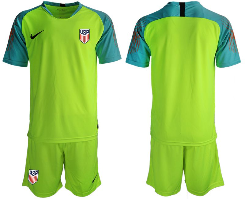 Men 2018-2019 National Team USA fluorescent green goalkeeper soccer jerseys