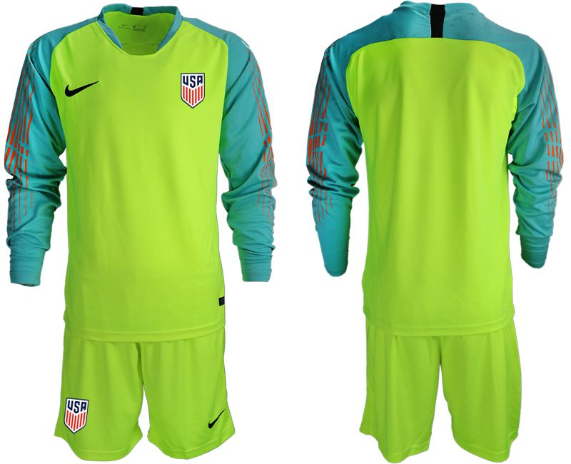 Men 2018-2019 National Team USA fluorescent green long sleeve goalkeeper soccer jerseys