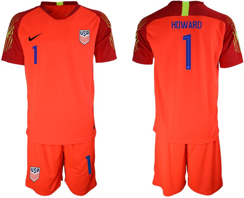 Men 2018-2019 National Team USA red goalkeeper 1 soccer jerseys
