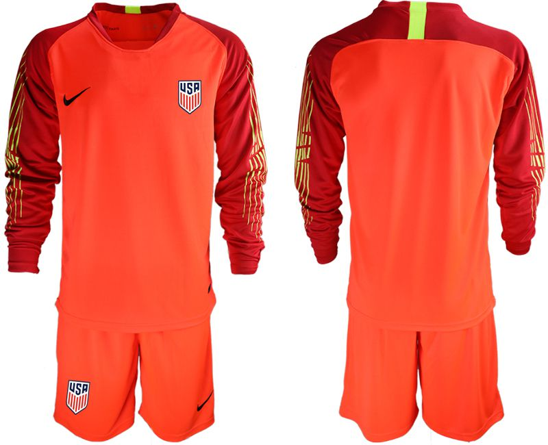 Men 2018-2019 National Team USA red goalkeeper long sleeve soccer jerseys