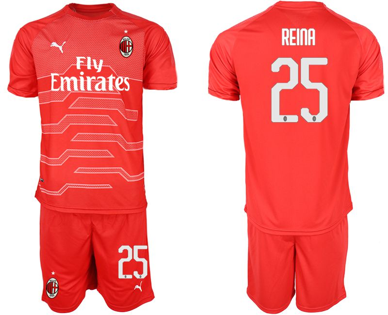 Men 2018-2019 club AC Milan red goalkeeper 25 Soccer Jerseys