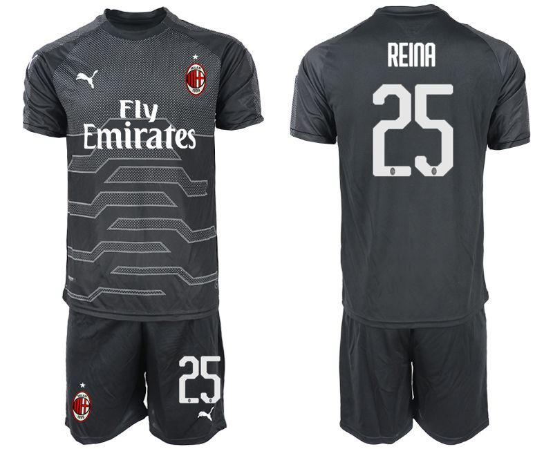 Men 2018-2019 club AC milan black goalkeeper 25 Soccer Jerseys