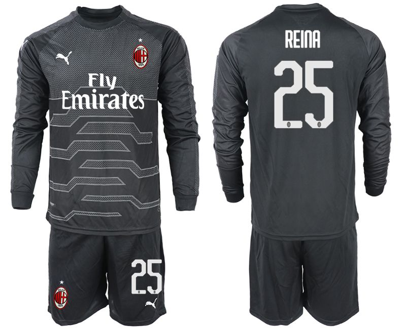 Men 2018-2019 club AC milan black goalkeeper long sleeve 25 soccer jerseys