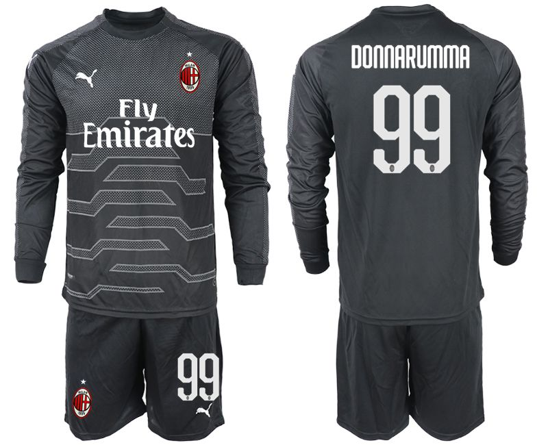 Men 2018-2019 club AC milan black goalkeeper long sleeve 99 soccer jerseys