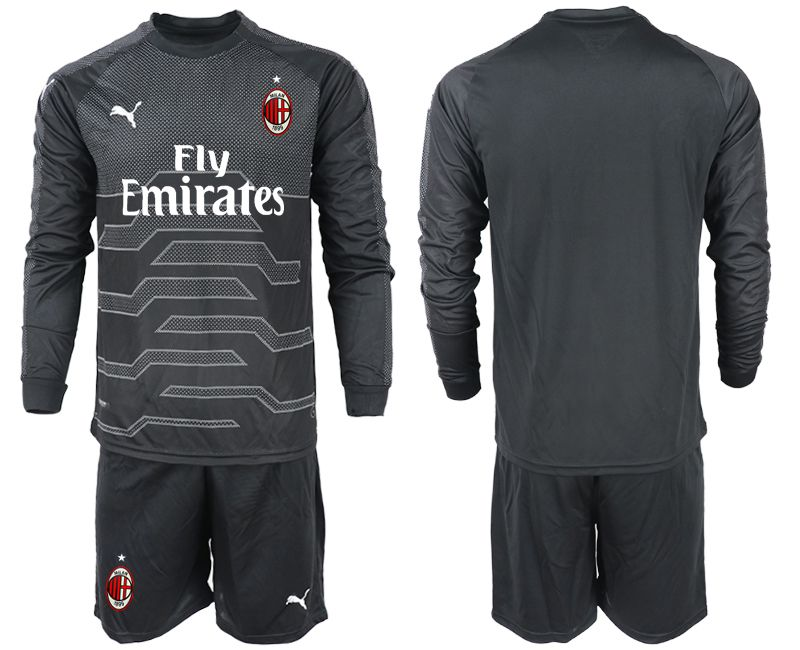 Men 2018-2019 club AC milan black goalkeeper long sleeve soccer jerseys