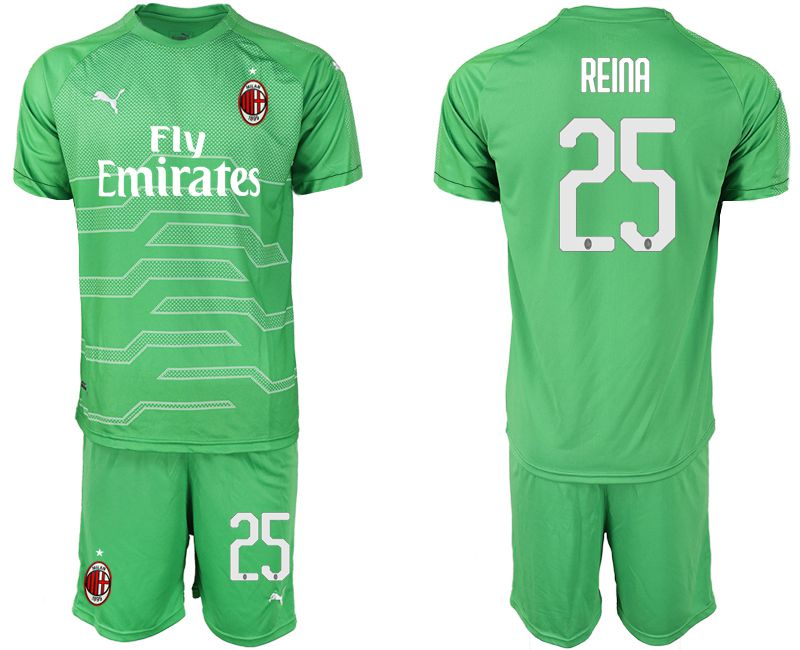 Men 2018-2019 club AC milan green goalkeeper 25 Soccer Jerseys
