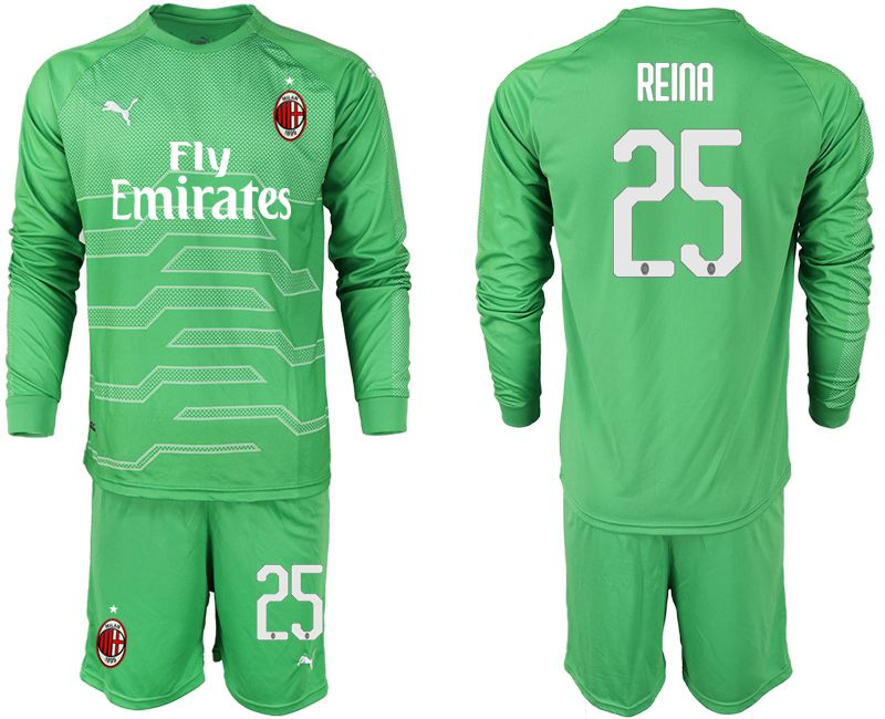 Men 2018-2019 club AC milan green goalkeeper long sleeve 25 soccer jerseys