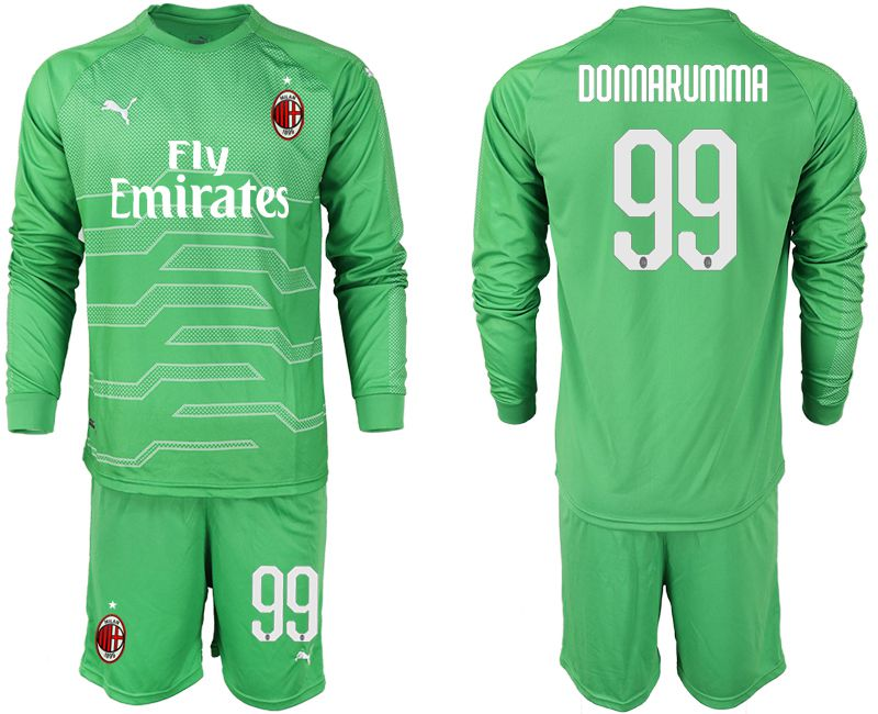 Men 2018-2019 club AC milan green goalkeeper long sleeve 99 soccer jerseys