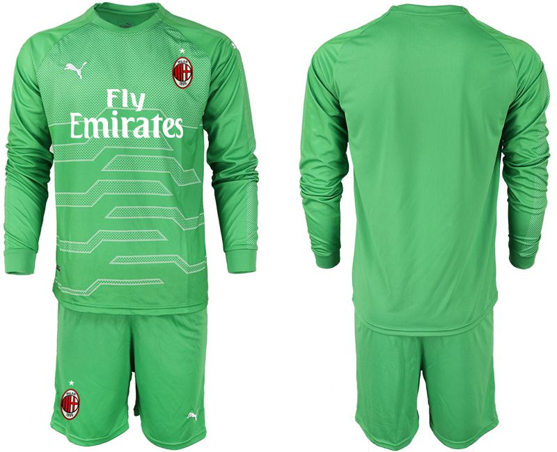 Men 2018-2019 club AC milan green goalkeeper long sleeve soccer jerseys