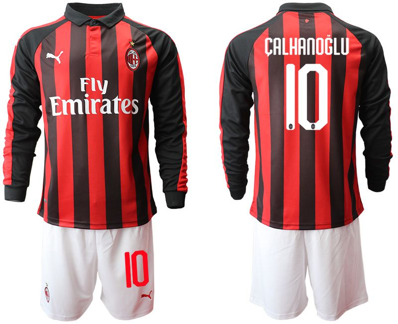 Men 2018-2019 club AC milan home long sleeve 10 soccer jerseys
