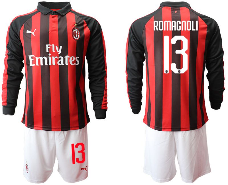 Men 2018-2019 club AC milan home long sleeve 13 soccer jerseys
