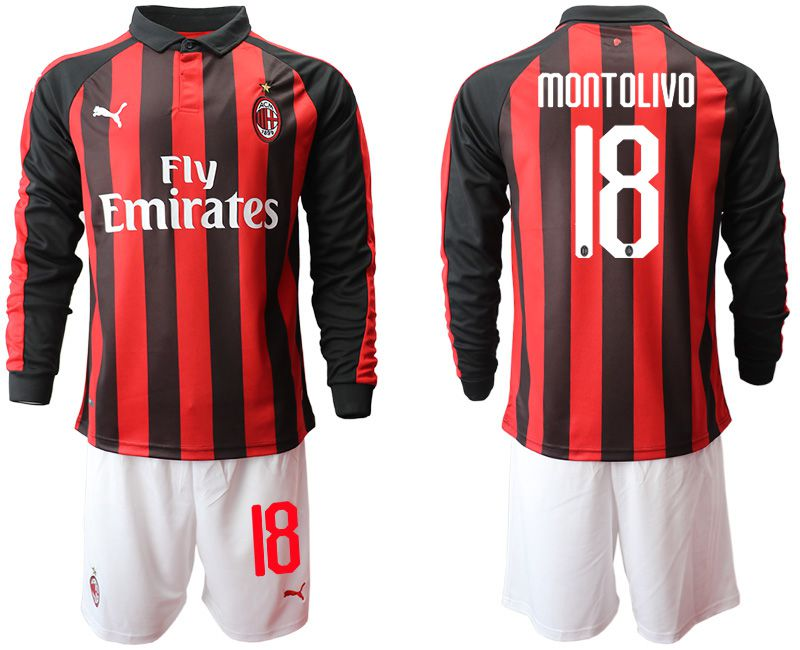 Men 2018-2019 club AC milan home long sleeve 18 soccer jerseys