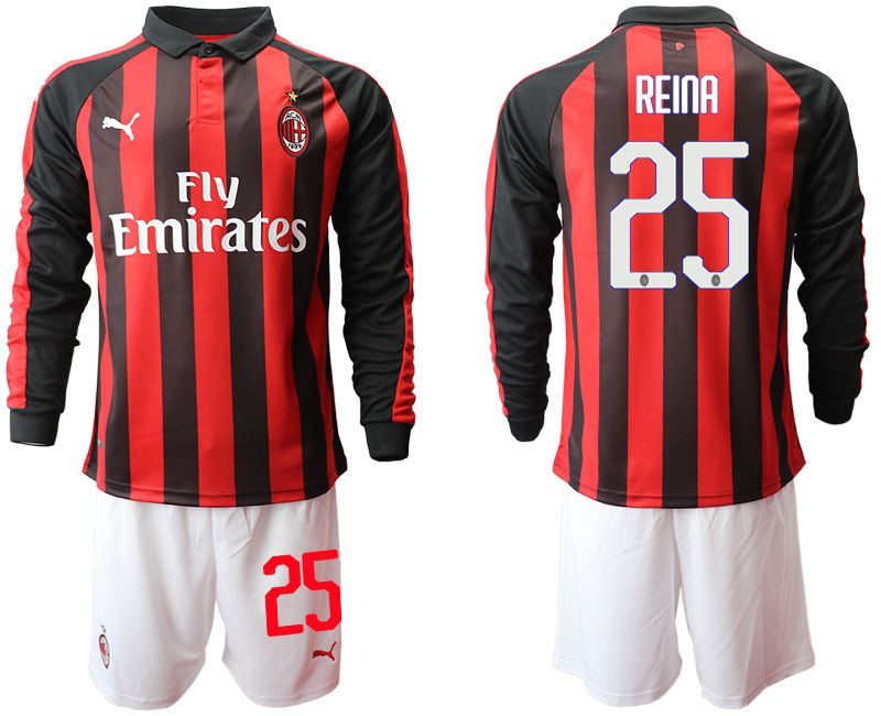 Men 2018-2019 club AC milan home long sleeve 25 soccer jerseys