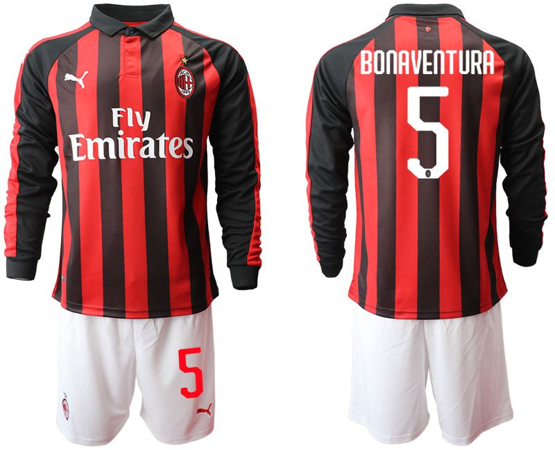 Men 2018-2019 club AC milan home long sleeve 5 soccer jerseys