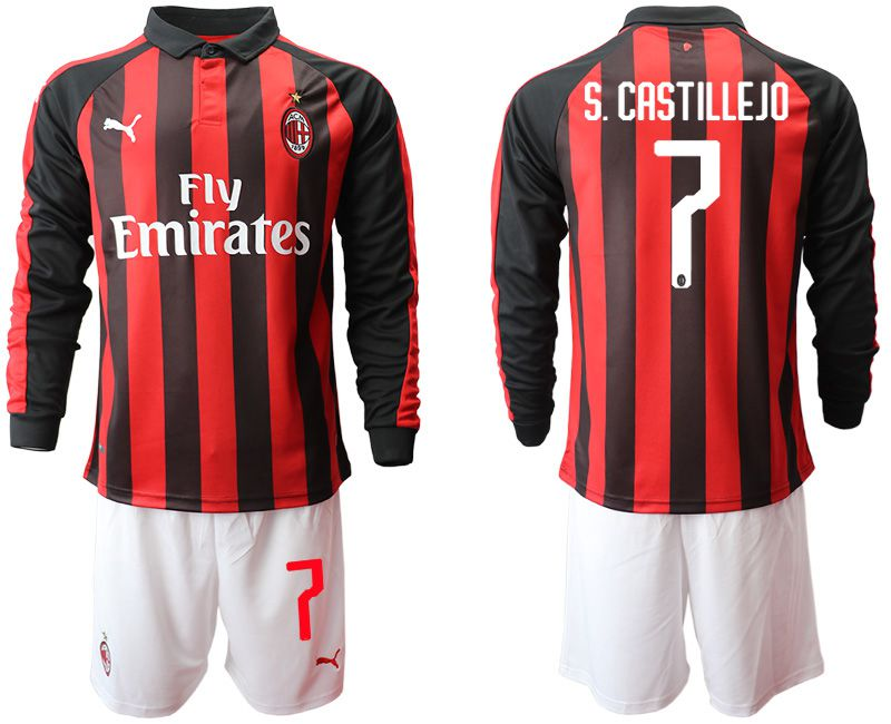 Men 2018-2019 club AC milan home long sleeve 7 soccer jerseys