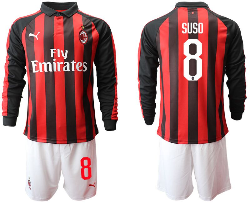 Men 2018-2019 club AC milan home long sleeve 8 soccer jerseys