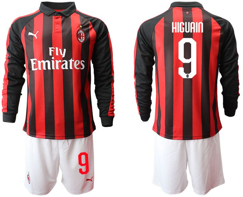 Men 2018-2019 club AC milan home long sleeve 9 soccer jerseys