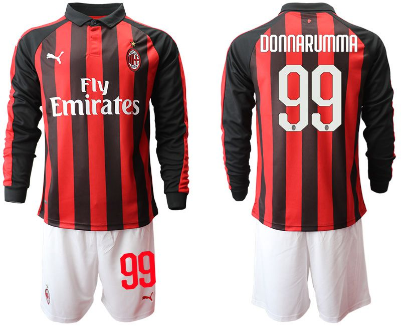 Men 2018-2019 club AC milan home long sleeve 99 soccer jerseys